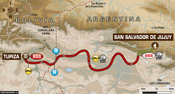 Etapa 4 | Dakar 2017 | Mapa de Ruta | S S de Jujuy –  Tupiza (Bolivia)