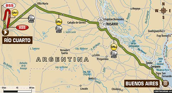 Etapa 12 | Dakar 2017 | Mapa de Ruta | Río Cuarto > Buenos Aires