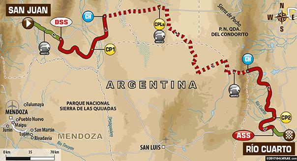 Etapa 11 | Dakar 2017 | Mapa de Ruta | San Juan > Río Cuarto