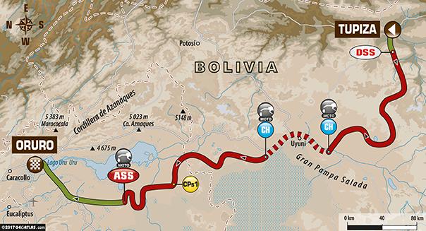 Etapa 5 | Dakar 2017 | Mapa de Ruta | Tupiza – Oruro (Bolivia)
