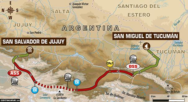 Etapa 3 | Dakar 2017 | Mapa de ruta | S M de Tucumán – S S de Jujuy