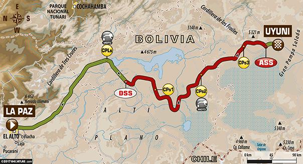 Etapa 7 | Dakar 2017 | Mapa de Ruta | La Paz > Uyuni