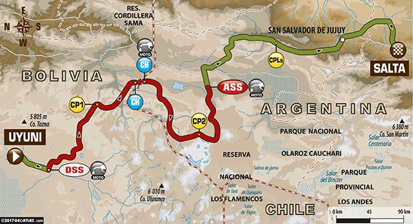 Etapa 8 | Dakar 2017 | Mapa de Ruta | Uyuni > Salta
