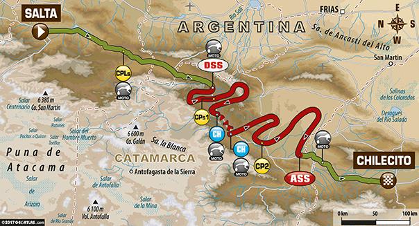 Etapa 9 | Dakar 2017 | Mapa de Ruta | Salta > Chilecito