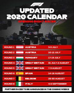 F1 2020 Calendario Actualizado Con 8 Carreras Pruebautosport